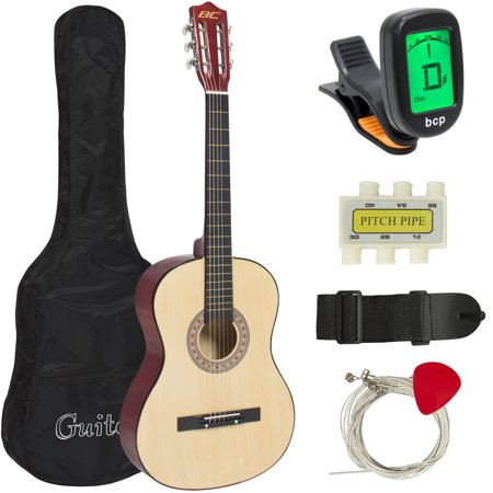 - Best Choice Products 38in Beginner Acoustic Guitar Starter Kit w/ Case, Strap, Digital E-Tuner, Pick, Pitch Pipe, Strings - Natural