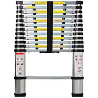 OxGord Aluminum Telescopic Ladder 12.5 FT Heavy Duty Commercial Grade - Extendible Work Light Weight Multi-Purpose System Steps for Library, Attic & Household Use Cleaning Windows - 330 LB Capacity