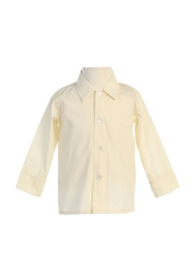 Avery Hill Baby Boys Infant Toddler Long Sleeved Simple Dress Shirt in Ivory or White