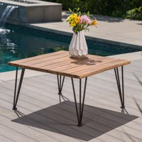 Outdoor Industrial Acacia Wood Coffee Table with Finish Iron Frame,Rustic,Teak