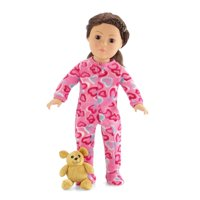 18 Inch Doll Pink Footed Heart Pajamas with Teddy Bear | Clothes Fit American Girl Dolls | Onesie Style | Gift Boxed!