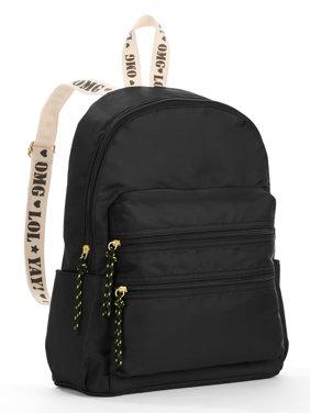 Twig & Arrow Black Nylon Strap Detail Backpack