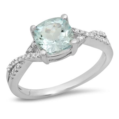 14k Celtic Engagement Ring - 14K White Gold Cushion Aquamarine & Round White Diamond Ladies Swirl Split Shank Bridal Engagement Ring