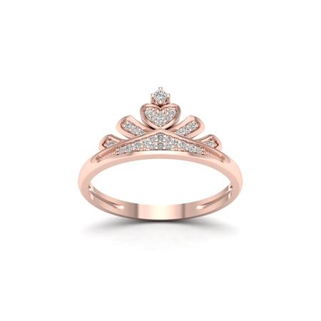 1/10Ct TDW Diamond 10k Rose Gold Crown Ring for Her