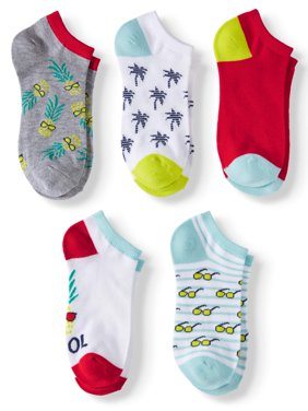 "Women's ""Cool"" Pineapple and Sunglasses No Show Socks, 5 Pairs"