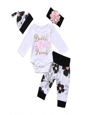 4pcs Newborn Kids Baby Girl Floral Clothes Jumpsuit Romper Bodysuit Pants Outfit
