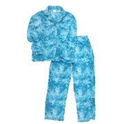 Womens Teal Blue Flower Paisley Fleece Pajamas PJs Lounge Sleep Set 8fb71d47a
