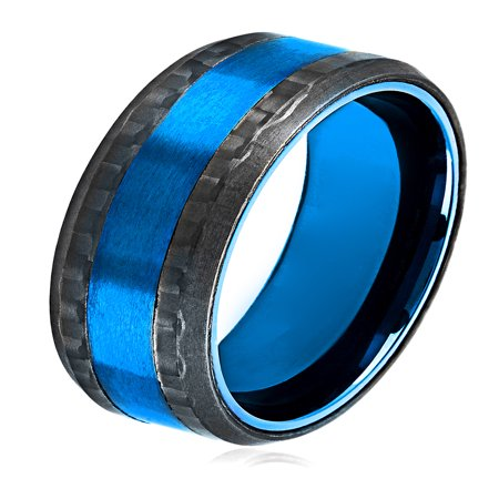 Blue Plated Stainless Steel Carbon Fiber Beveled Ring (8mm)
