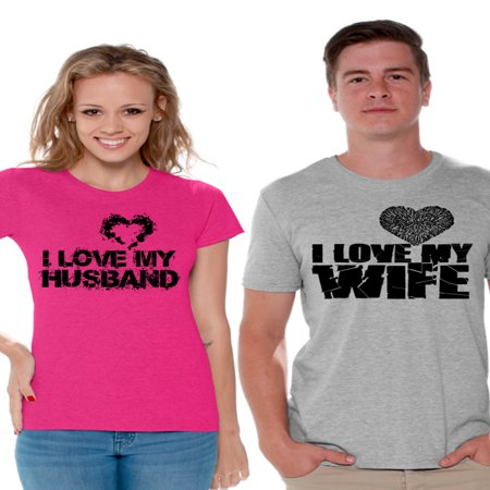 Awkward Styles Couple Shirts I Love My Husband Shirt I Love My Wife T Shirts for Couples Husband and Wife Matching Couple Shirts Valentines Day Outfit Anniversary Gift for Husband Cute Gift for Wife](Halloween Outfits Couples)