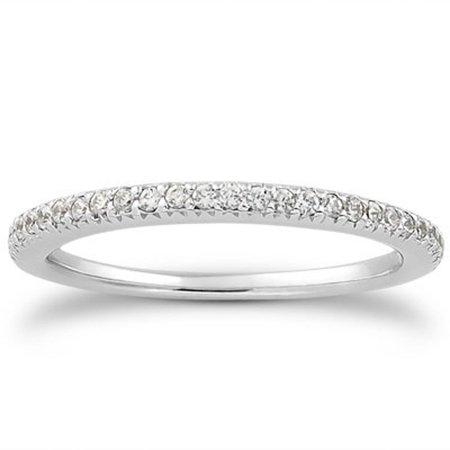 14K White Gold Fancy Engraved Pave Diamond Wedding Ring Band Size - 6.5