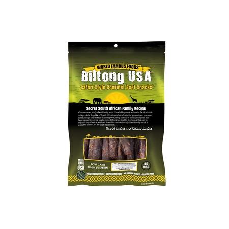 Biltong USA Grass Fed Droewors Beef Sticks, Spicy Medium Flavor, 8oz Pack ()