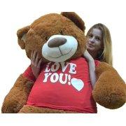 ce2956fbdd1 Big Plush 5 Foot Giant Teddy Bear 60 Inches Soft Cinnamon Brown Color Wears  I Love