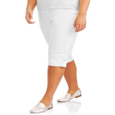 Women's Plus-Size Pull-On Bling Tab Capri (Mountain Hardwear Black Capris)