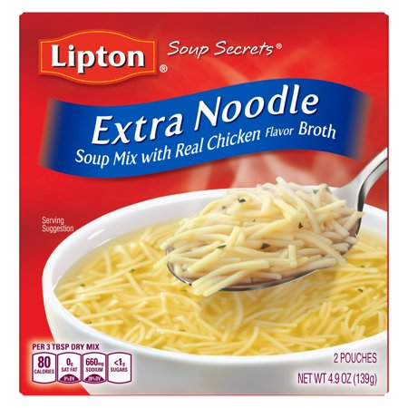 Lipton Soup Secrets with Real Chicken Flavor Extra Noodle Soup Mix, 4.9 oz 2 ct