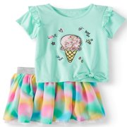 Side-Tie Top & Reversible Skirt, 2pc Outfit Set (Toddler Girls)