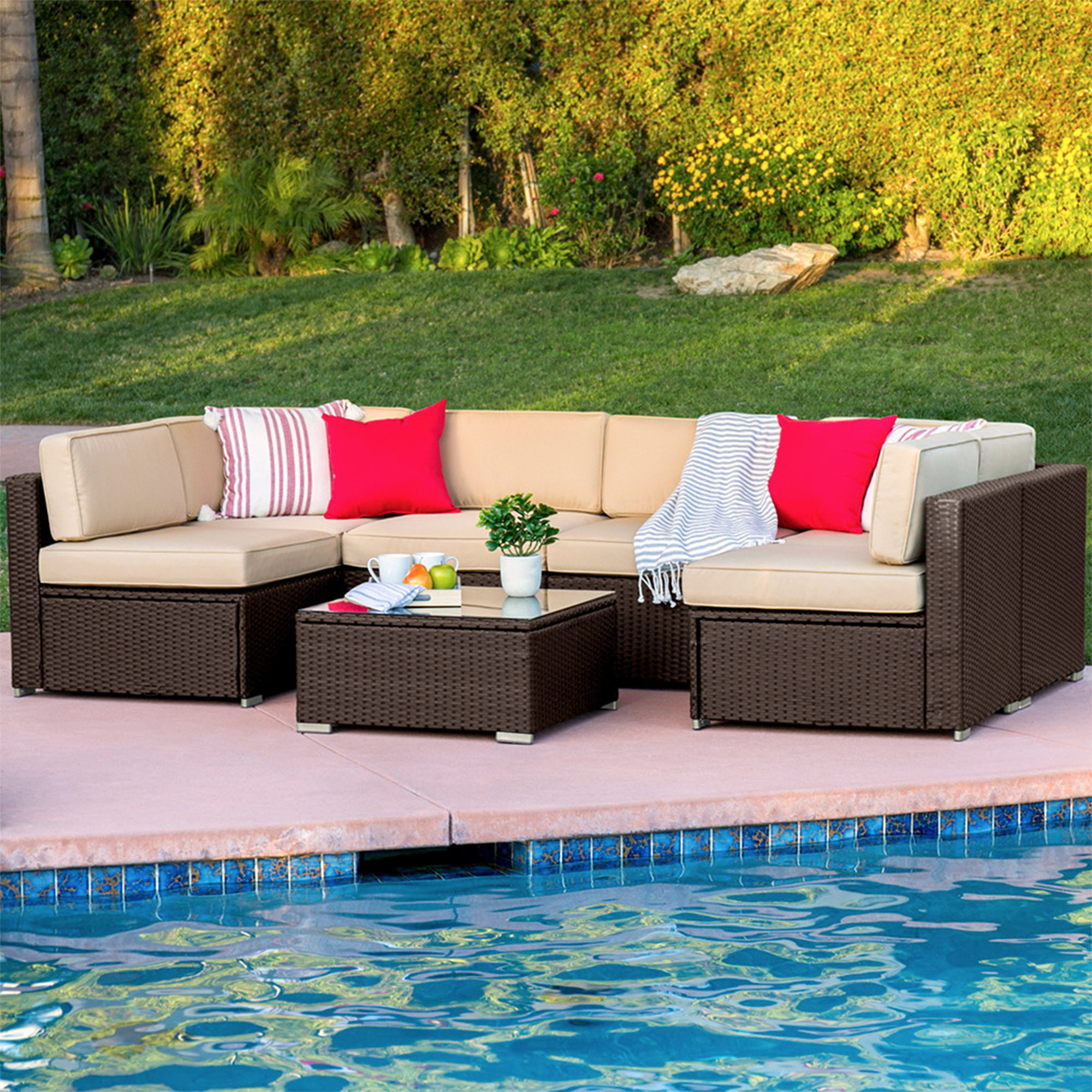 Superb Best Choice Products 7 Piece Outdoor Modular Sectional Andrewgaddart Wooden Chair Designs For Living Room Andrewgaddartcom