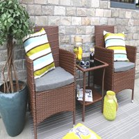 Baner Garden Outdoor Furniture Complete Patio Cushion PE Wicker Rattan Garden Dining Set, Brown, 3-Pieces