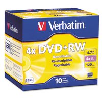 Verbatim DVD+RW Discs, 4.7GB, 4x, w/Slim Jewel Cases, Pearl, 10/Pack