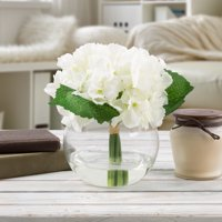 Hydrangea Artificial Floral Arrangement with Vase and Faux Water- Fake Flowers for Home Decor, Weddings, Shower Centerpiece by Pure Garden (White)