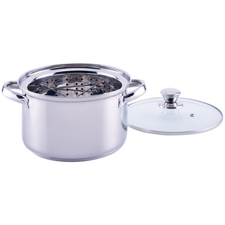 Mainstays Stainless Steel 4 Quart Steamer Pot with Steamer Insert and (Best Crab Steamer Pot)