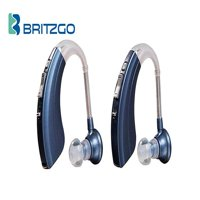 """Pack of Two Britzgo Hearing Aid Amplifiers BHA-220, 500hr Battery Life, """"FDA Approved"""", Blue"""
