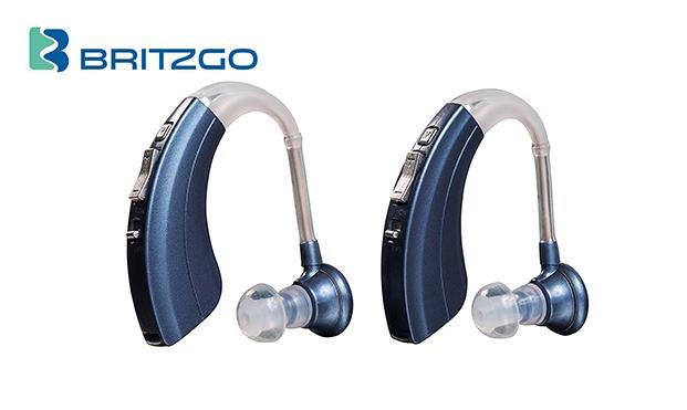 "Pack of Two Britzgo Hearing Aid Amplifiers BHA-220, 500hr Battery Life, ""FDA Approved"", Blue"
