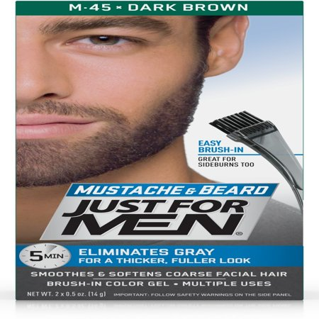 Just For Men Mustache and Beard, Easy Brush-In Facial Hair Color Gel, Dark Brown, Shade