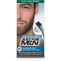 Just For Men Mustache and Beard, Easy Brush-In Facial Hair Color Gel, Dark Brown, Shade M-45