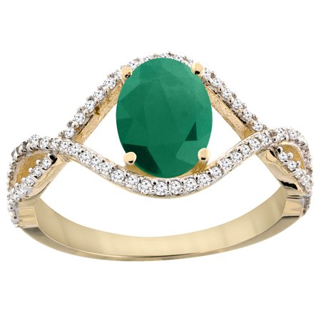 Oval Cabochon Accent - 14K Yellow Gold Natural Cabochon Emerald Ring Oval 8x6 mm Infinity Diamond Accents, size 5