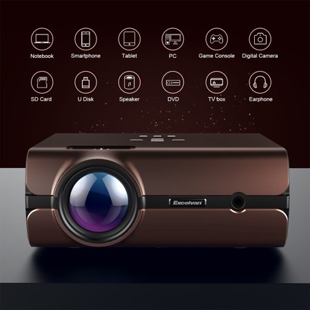 Excelvan BL46 Android 6.0 Multimedia LCD Projector 1G RAM 8G ROM Support Bluetooth 4.0 1080P Wireless Connection With Smartphone Tablet Many Interfaces USB VGA SD HDMI For PC Laptop Game Console