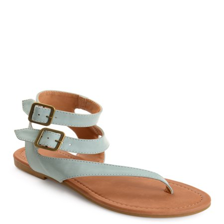 - Womens Faux Leather Buckle Double Wrap Thong Sandals