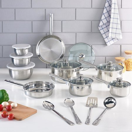 Mainstays Stainless Steel Cookware Set Walmart Com