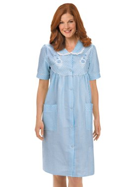 Women's Floral Gingham Print Pocket Lounge Robe with Snap Front Closure and Lace Trim, Large, Blue