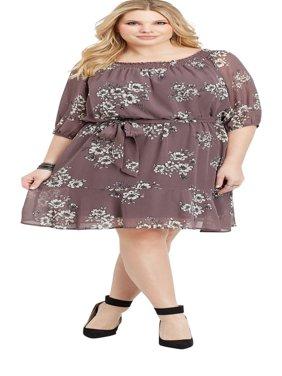 Plus Size Off The Shoulder Floral Dress