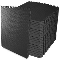 "Everyday Essentials 3/4"" Thick Flooring Puzzle Exercise Mat with High Quality EVA Foam Interlocking Tiles, 24 Piece, 96 Sq Ft, Black"