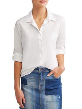 Poplin Casual Button Down Shirt Women's