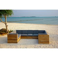 Willow Creek Pacific 10 Piece Teak Patio Conversation Set with Sunbrella Cushions