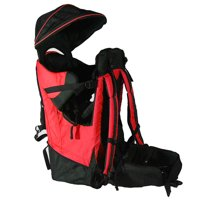 Deluxe Baby Toddler Backpack Cross Country Lightweight Carrier Red w/ Stand and Sun Shade