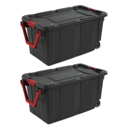 Multi Compartment Wheeled Tote (Sterilite, 40 Gal./151 L Wheeled Industrial Tote, Black, Case of 2 )