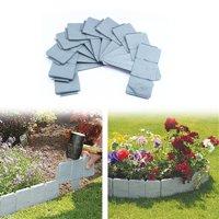 Dilwe 10 Pcs Gray Cobbled Stone Effect Plastic Garden Lawn Edging Plant Tree Border,Plastic Garden Edging Border