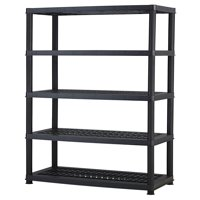 "Keter Plastic 5-Tier Shelf, 18"" x 36"" Ventilated Resin Unit, Black"