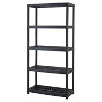 "Keter Plastic 5-Tier Shelf, 18"" x 36"" Ventilated Resin Unit, Black"