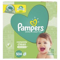 Pampers Baby Wipes Complete Clean Unscented 7X Pop-Top Packs 504 Count