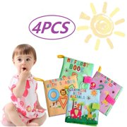 Cosyitems 4PCS Baby Soft Activity Books Set – Babies Cloth Farm Alphabet Shapes Book for Girls Boys Kids Children Touch Learning Toys 0-4 Years