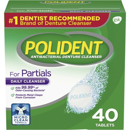 Denture Cleanser Powder (Polident Partials Antibacterial Denture Cleanser Effervescent Tablets, 40 count)