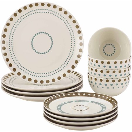 Dots Dinnerware Set - Rachael Ray Cucina Circles and Dots Stoneware Dinnerware Set, 12 Piece