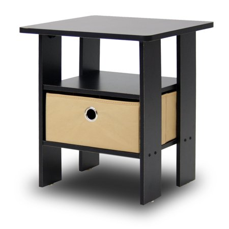 Furinno Andrey End Table Night Stand with Bin Drawer, Multiple Colors Built In Stainless Access Drawers