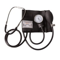 HealthSmart Manual Home Blood Pressure Monitor with Standard Cuff and Stethoscope, Black