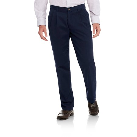 Men's Wrinkle Resistant Pleated 100% Cotton Twill Pant with (Easy Care Dress Pants)