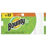 Bounty Paper Towels, White, 12 Super Rolls = 22 Regular Rolls